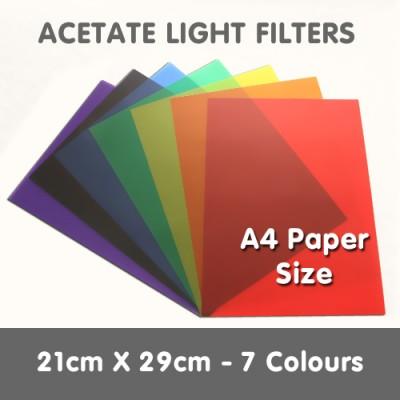Acetate Light Filters 21cm x 29cm - 7 Colours
