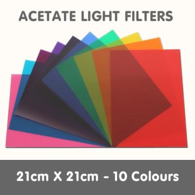 Acetate Light Filters 21cm x 21cm - 10 Colours