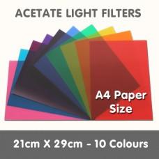 Acetate Light Filters 21cm x 29cm - 10 Colours