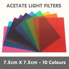 Acetate Light Filters 7.5cm x 7.5cm - 10 Colours
