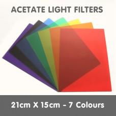 Acetate Light Filters 21cm x 15cm - 7 colours
